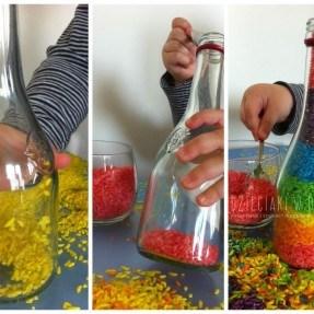 zabawa kolorowym ryżem