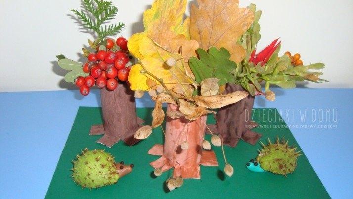 Jesienne dekoracje z rolek i liści