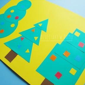 geometryczne choinki - matematyczna praca dla dzieci