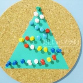 choinka z pinezek - kreatywna zabawa świąteczna dla dzieci