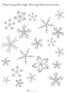 płatki śniegu - znajdź pary - karta pracy dla dzieci
