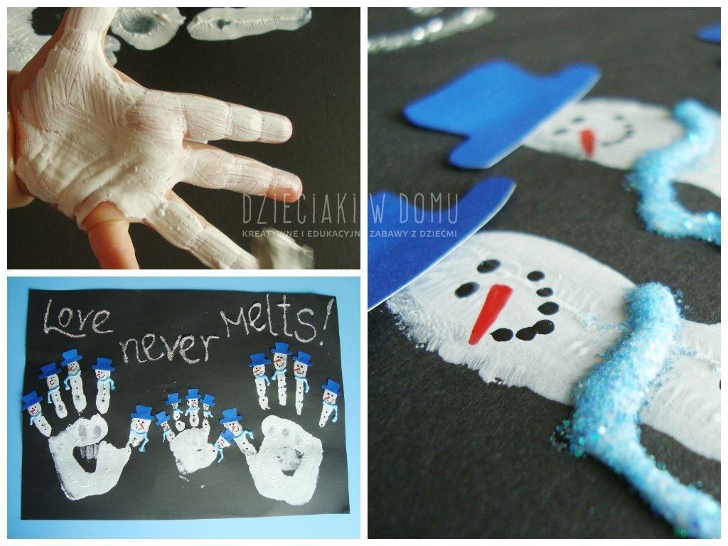 bałwanki z rączek - praca plastyczna dla dzieci