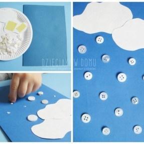 guziczkowy śnieg - pomysł na zimową kartkę