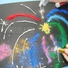 brokatowe fajerwerki - praca plastyczna dla dzieci