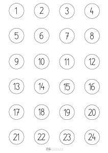cyfry w kółeczkach - szablon