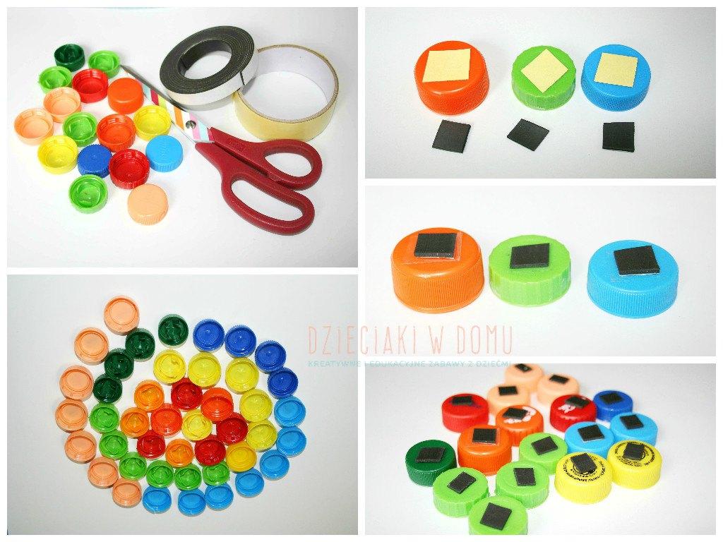 magnesy z nakrętek - zabawka DIY dla dzieci
