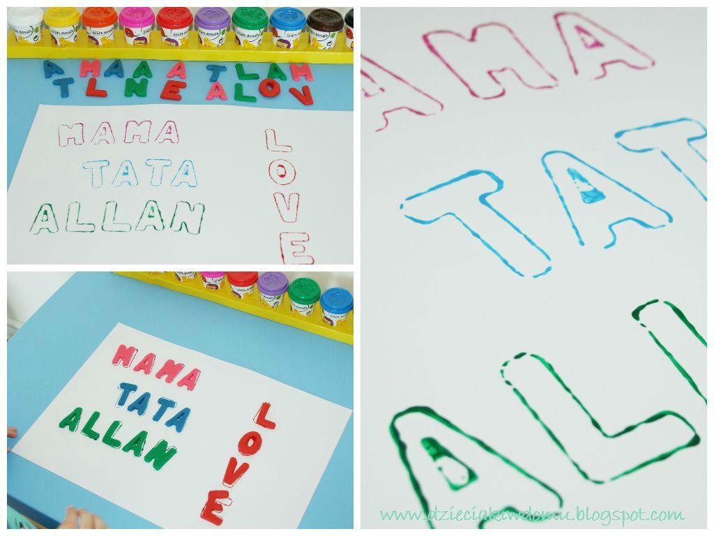 dopasowywanie literek z ciastoliny do ich kształtów - kreatywna zabawa językowa dla dzieci