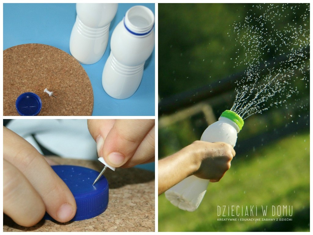 pryskające butelki - zabawka z recyklingu