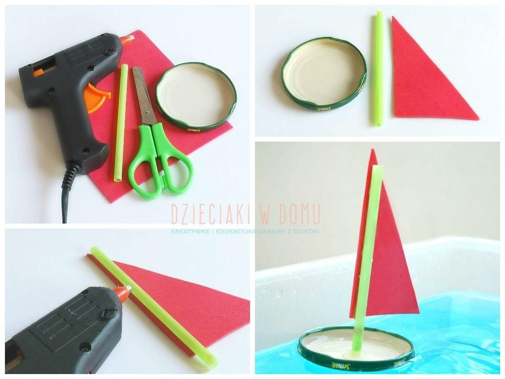 łódki z pokrywek - zabawa dla dzieci