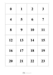 liczby 0-23 - szablon