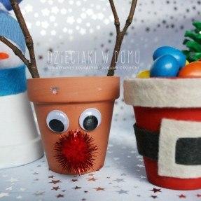 zimowa dekoracja z doniczek DIY
