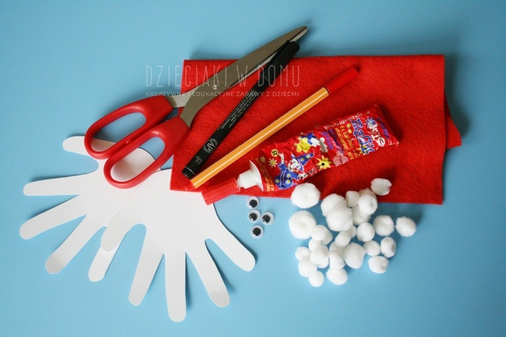 mikołaj z łapek - pomysł na pracę techniczną dla dzieci