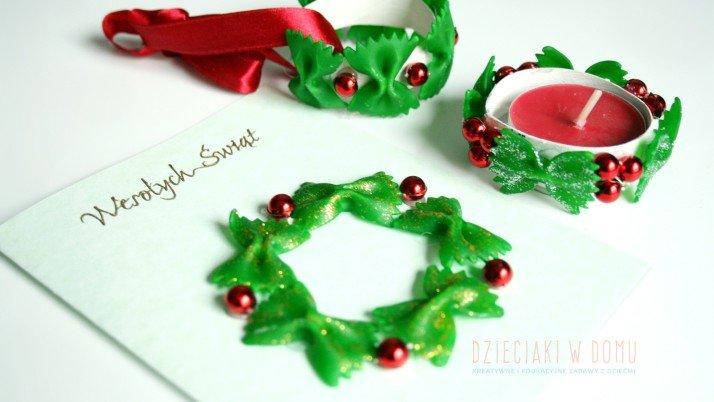 Świąteczne dekoracje z makaronu i rolek