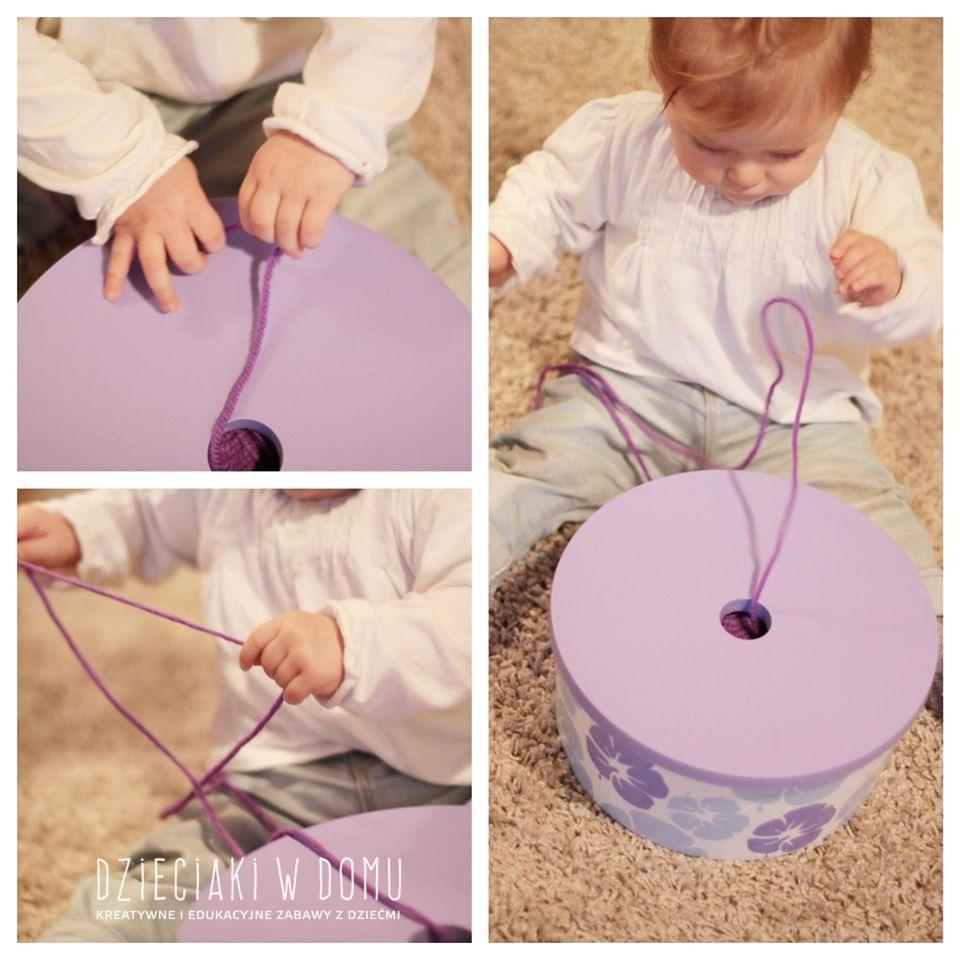 pudełko i włóczka - kreatywna zabawa dla niemowlaka