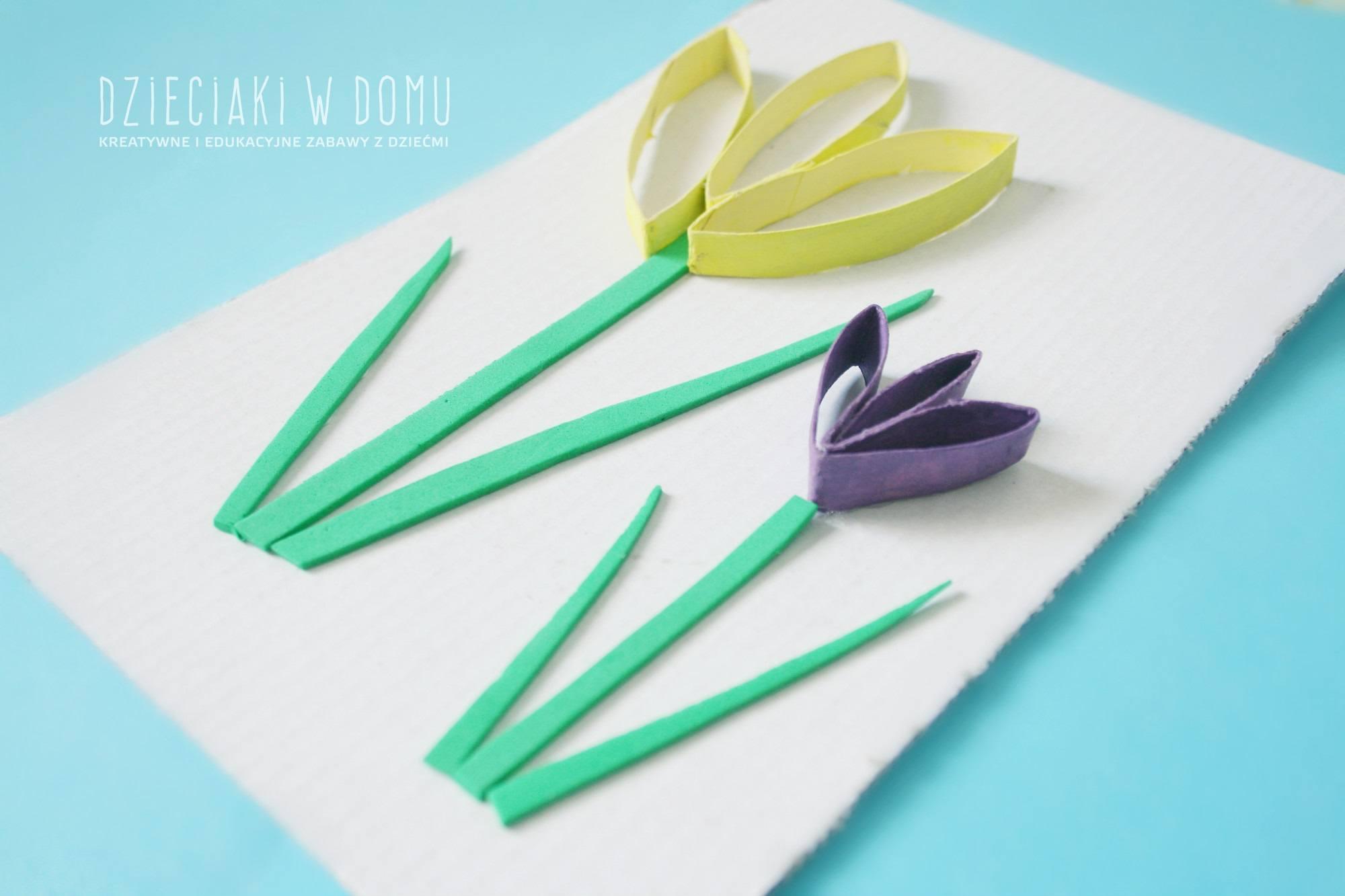 krokusy i motylki z rolek - praca plastyczna