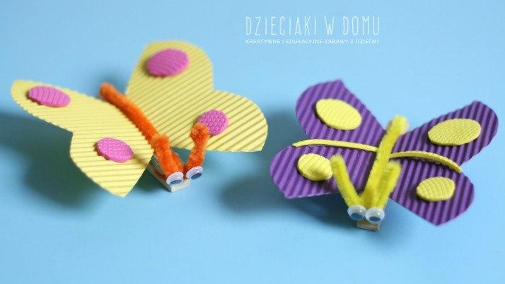 Kreatywne motyle z klamerek
