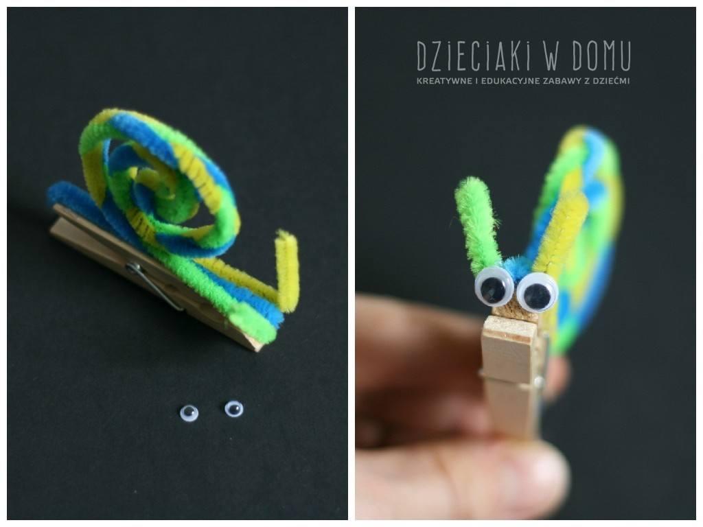 kreatywny ślimak z klamerki - praca dla dzieci