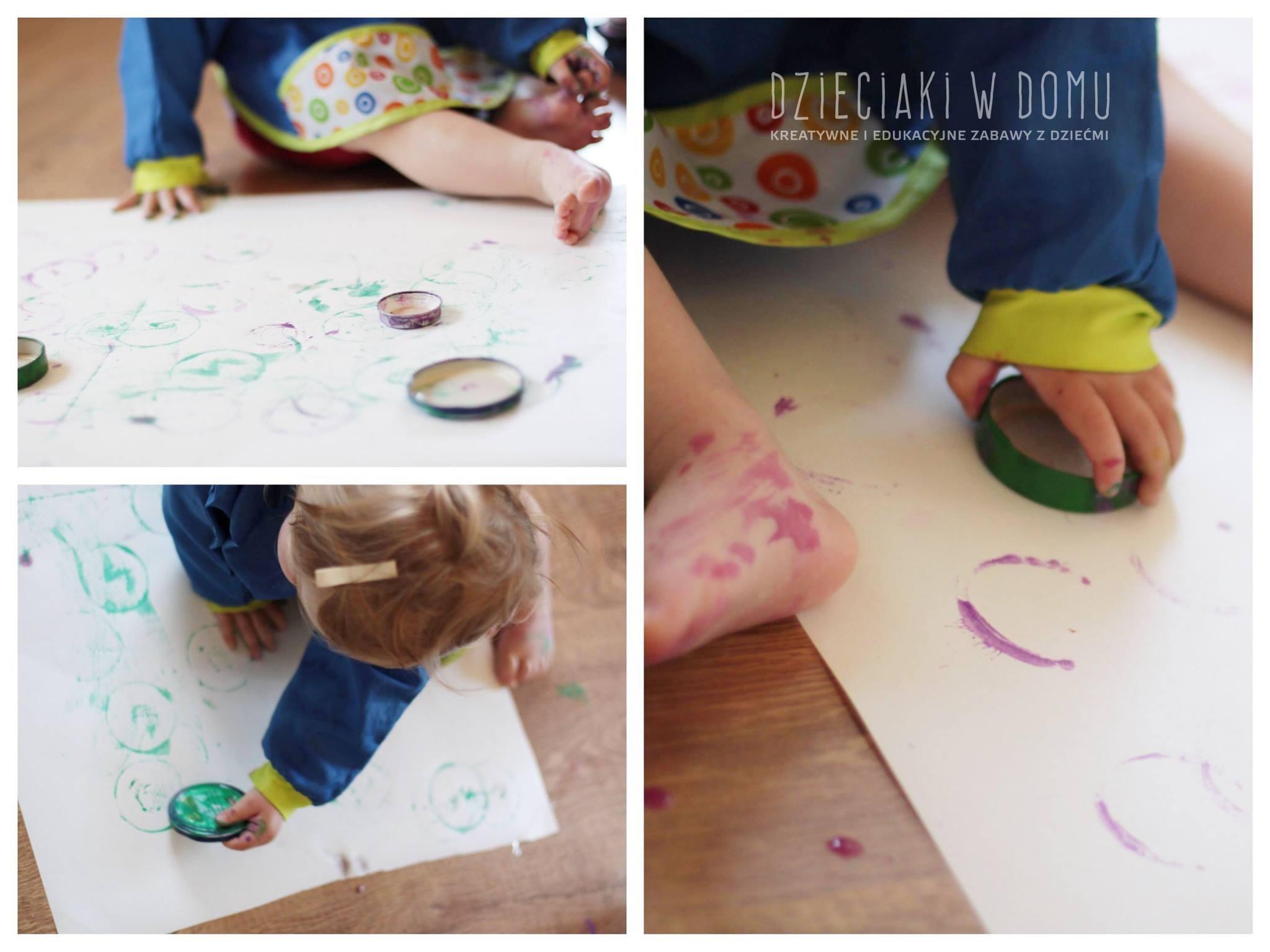 malowanie pokrywkami - kreatywna zabawa dla dzieci