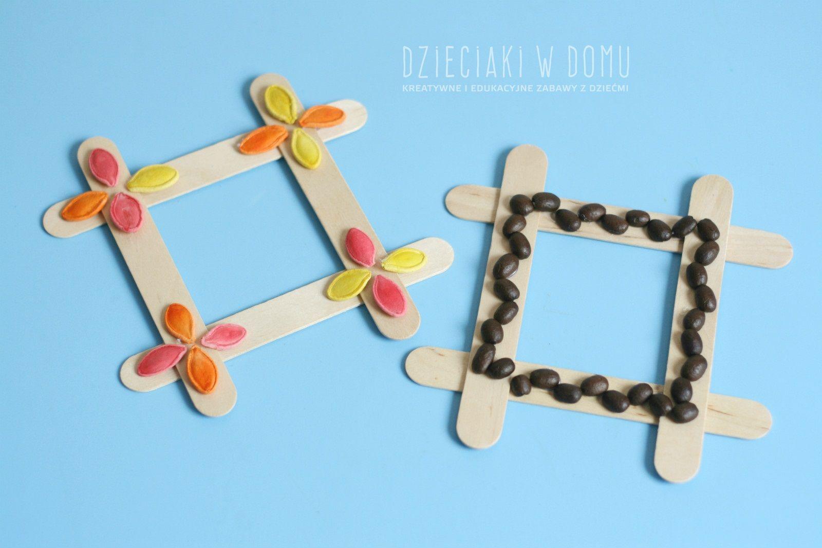 ramka z patyczków - kreatywny prezent na dzien taty i mamy, babci i dziadka