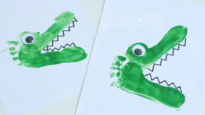 Krokodyl malowany stopami
