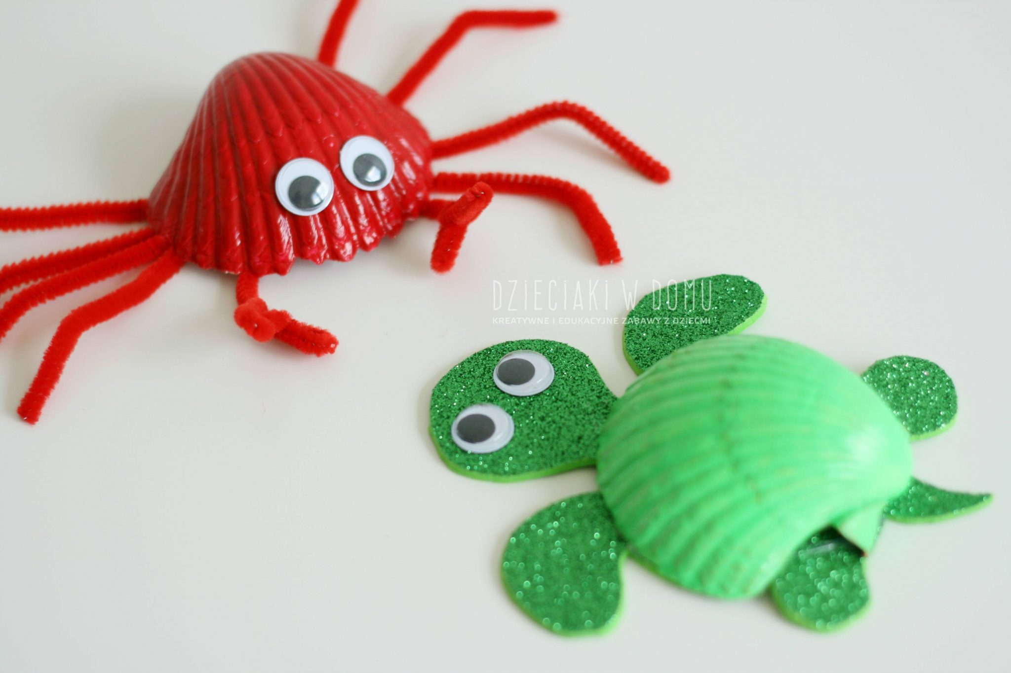 morskie zwierztka z muszelek - krab, zolw, rybki - praca dla dzieci