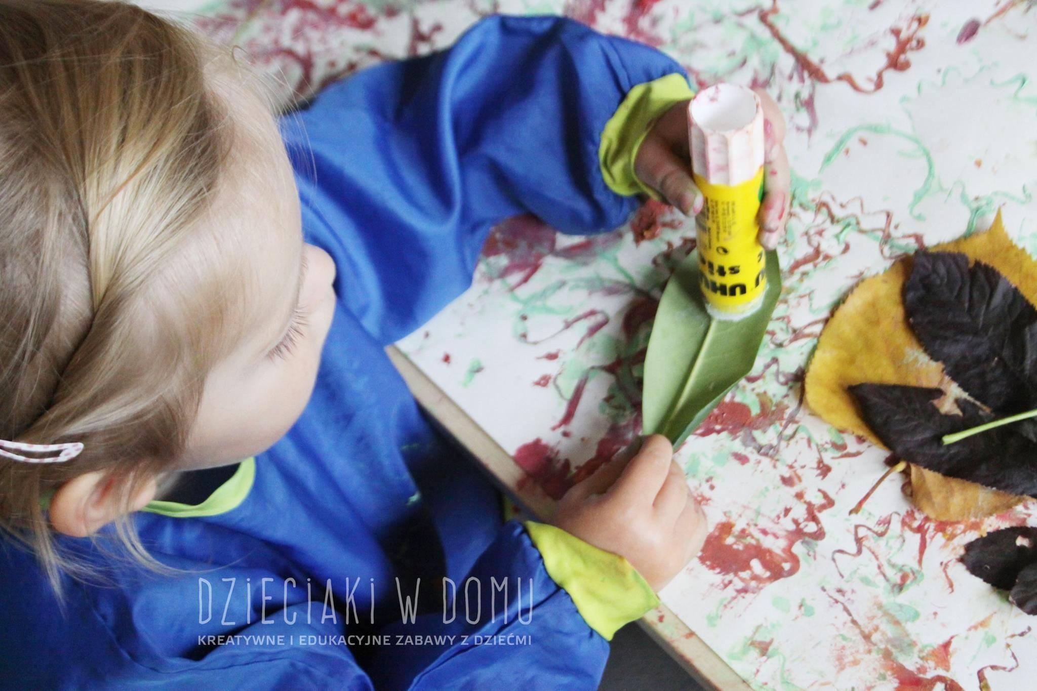 jesienna kompozycja - praca plastyczna dla dwulatka