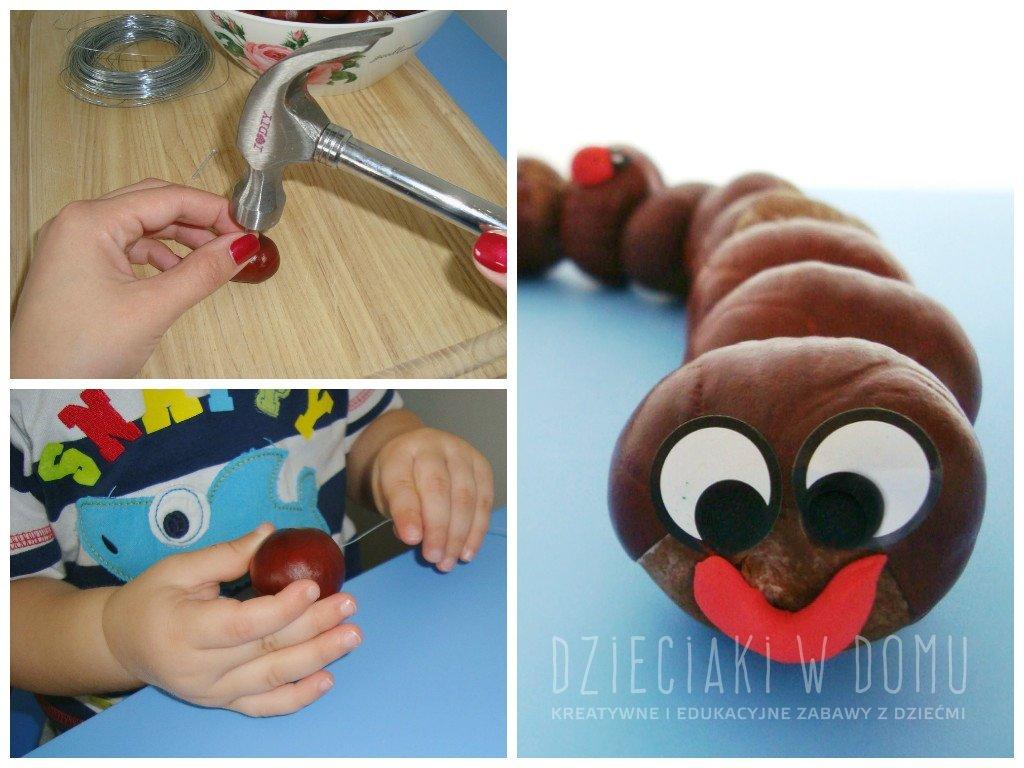 kasztanowa gąsienica - praca techniczna dla dzieci