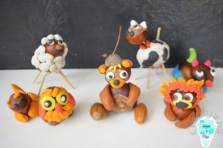 kasztaniaki - zwierzątka z kasztanów i plasteliny