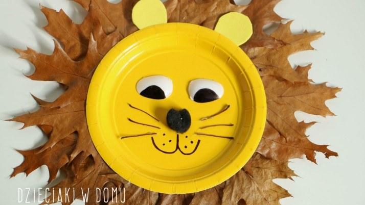 Lew z jesiennych liści – praca techniczna dla dzieci