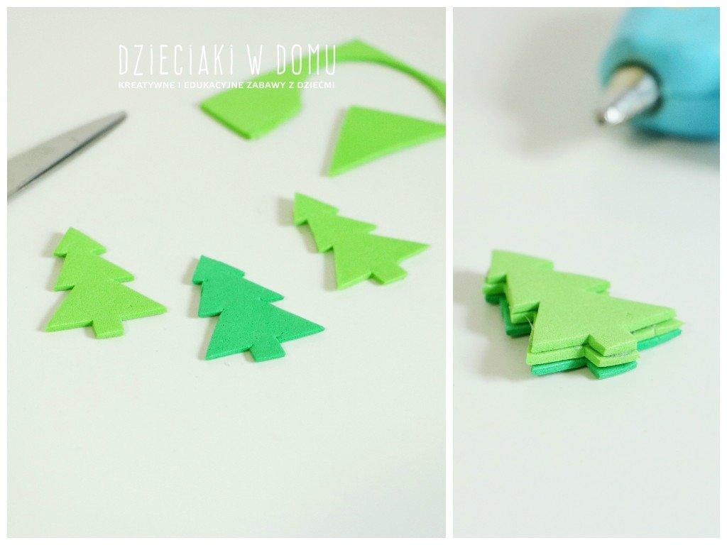 Stempeki dla dzieci zrobione z nakrętek domowym sposobem DIY - choinka - zestaw świąteczny