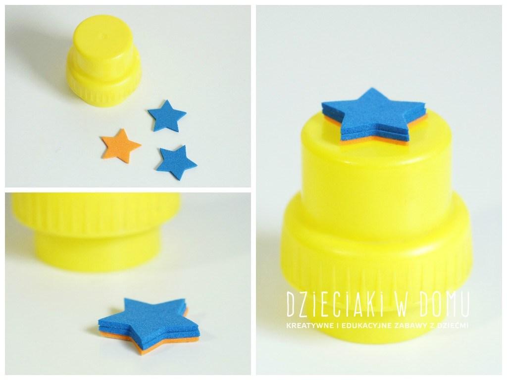 Stempeki dla dzieci zrobione z nakrętek domowym sposobem DIY - gwiazdka
