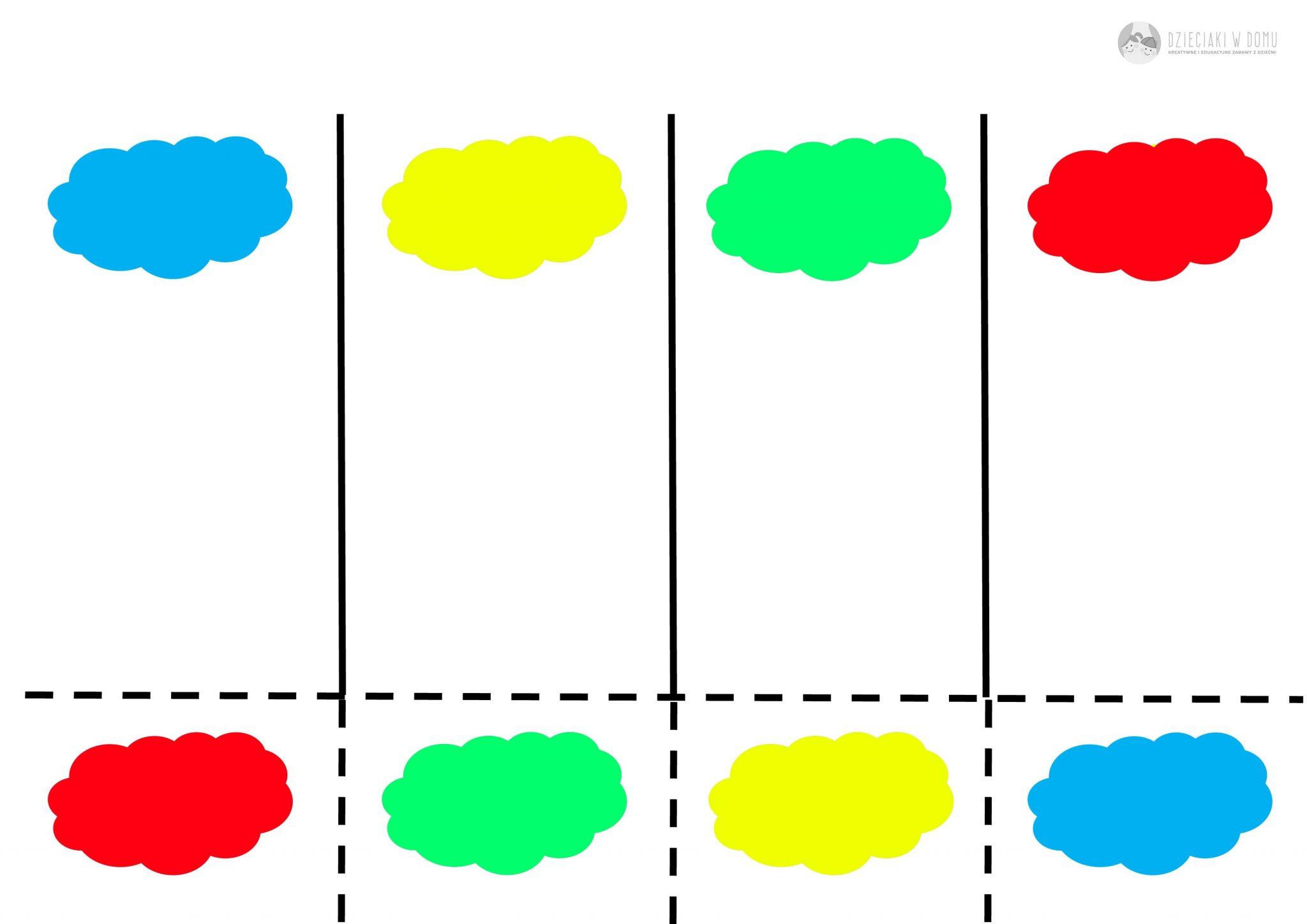 chmury w podstawowych kolorach - karta pracy dla dzieci