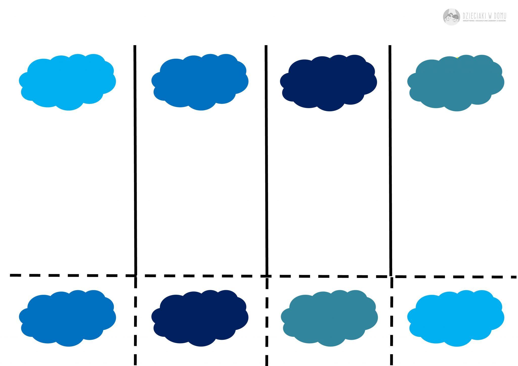 Chmury - odcienie - karta pracy dla dzieci