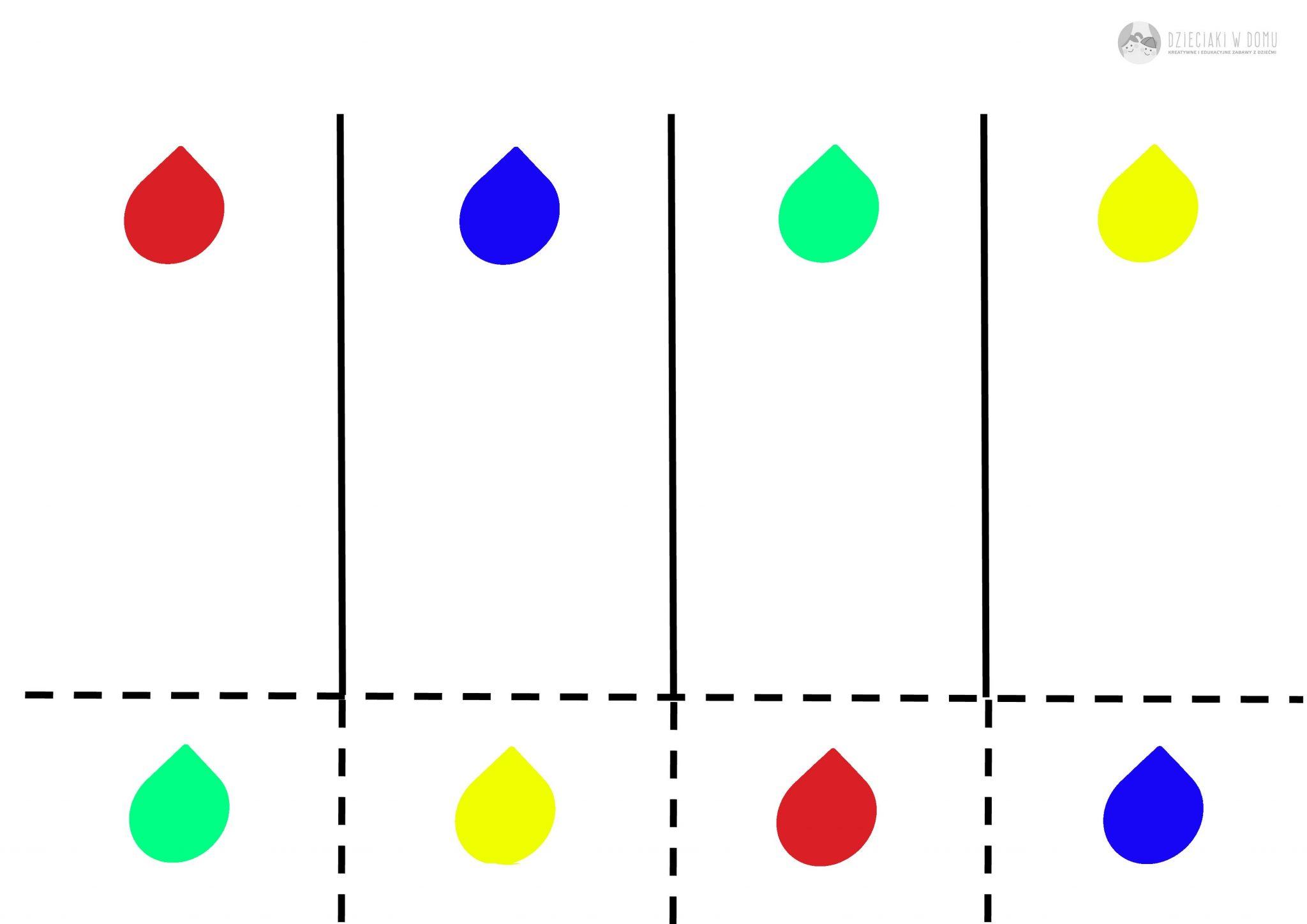 krople deszczu - kolory - karta pracy dla dzieci