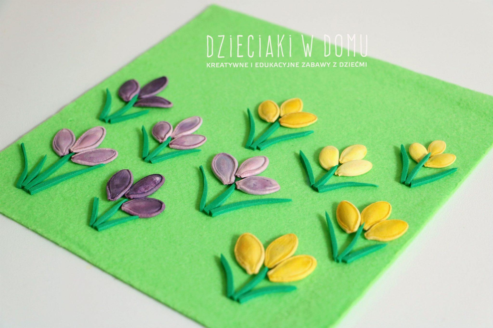 wiosenne krokusy - pomysł na pracę plastyczna dla dzieci