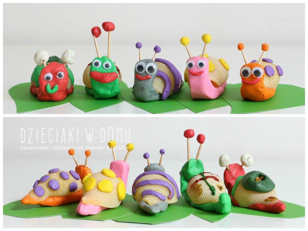 ślimaki z makaronu i plasteliny - praca techniczna dla dzieci