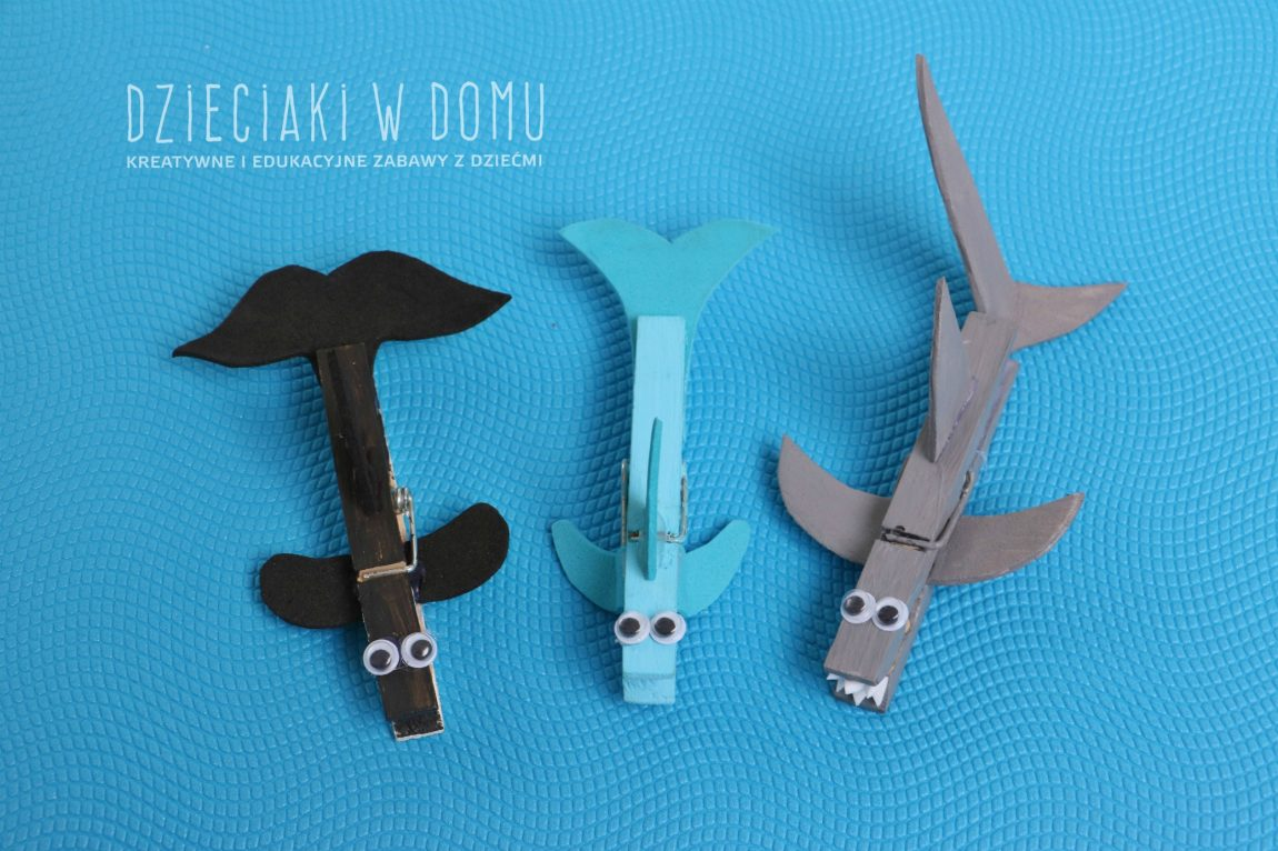 Orka, rekin i delfin z drewnianych klamerek