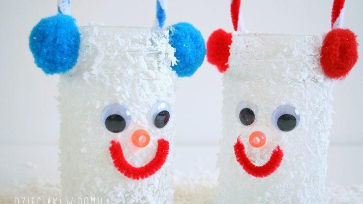 Bałwanki – zimowe lampiony dla dzieci DIY