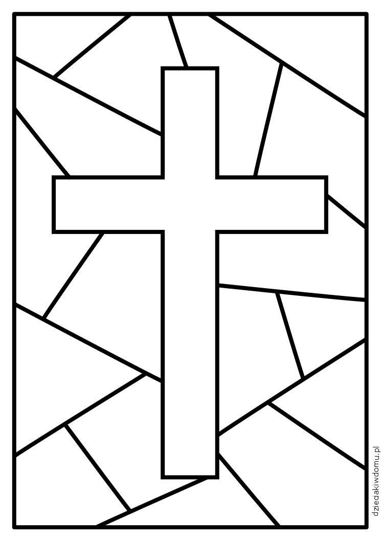 krzyz - kolorowanka dla dzieci, witraz