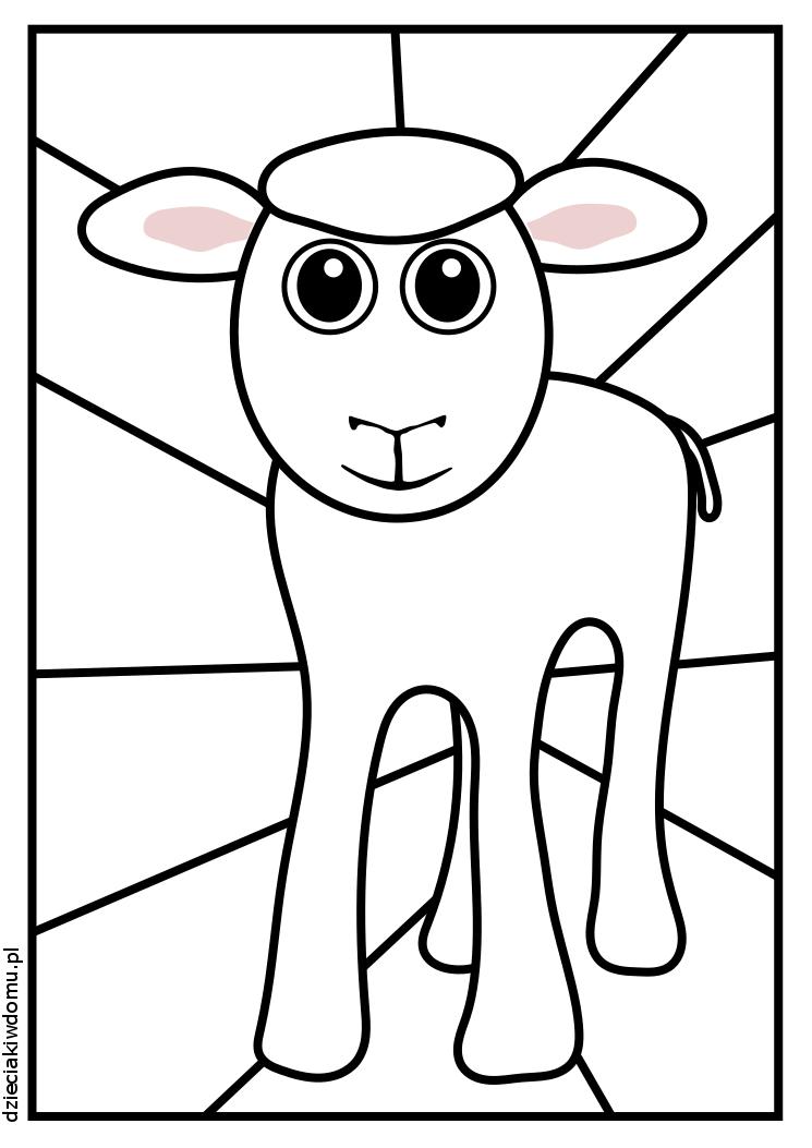 baranek witraz - kolorowanka dla dzieci