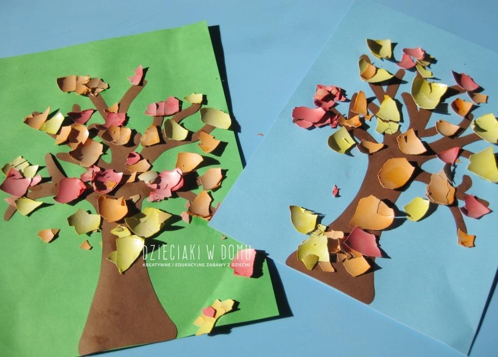 jesienne drzewka z barwionych skorupek - praca plastyczna dla dzieci