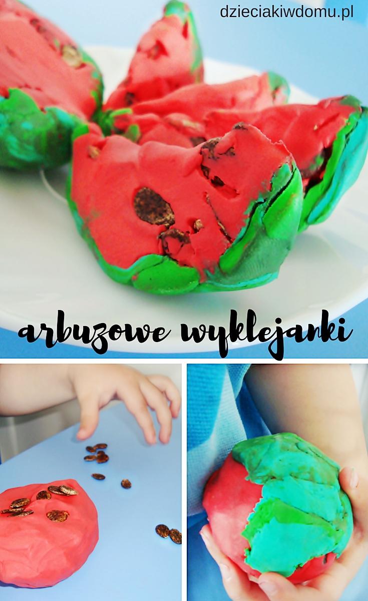 arbuzowa wyklejanka - zabawa z plasteliną dla dzieci