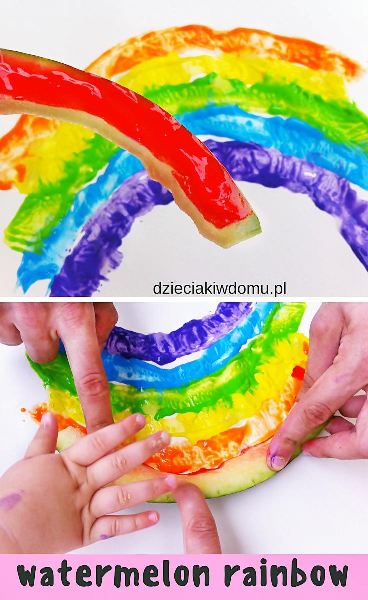 tęcza z arbuza - pomysł na pracę plastyczną dla dzieci