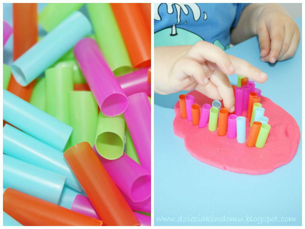 Literki ze słomek w ciastolinie - zabawa dla dzieci, nauka literek przez zabawę