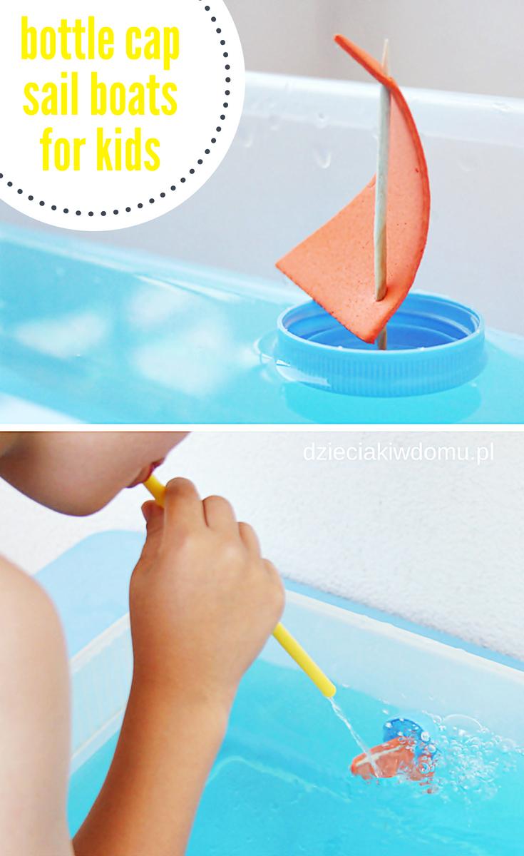 bottle cap sail boat dzieciaki w domu