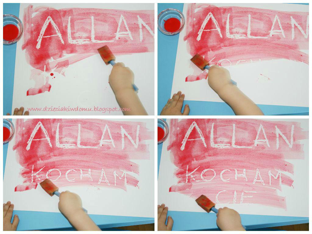 Magiczne literki - malowanie farbą i woskiem - zabawa dla dzieci