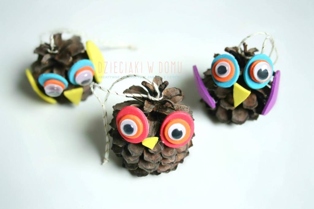 szyszkowe sowy - praca kreatywna dla dzieci