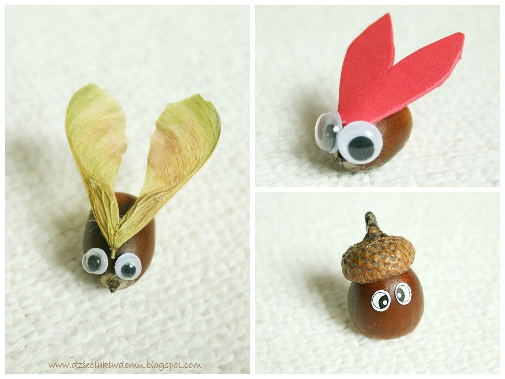 Stworzonką z żołędzi i łupin orzecha - pomysły na jesienne prace dla dzieci