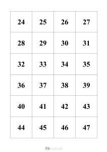 liczby 24-47 - szablon