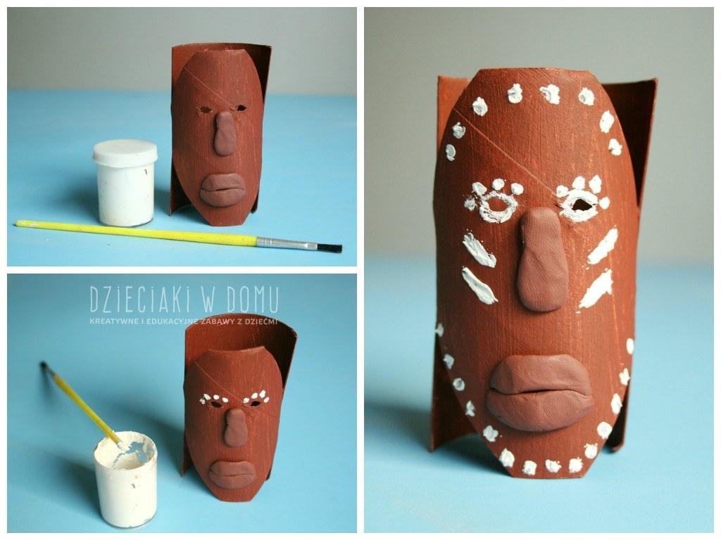 afrykańskie maski z rolek - praca plastyczna dla dzieci
